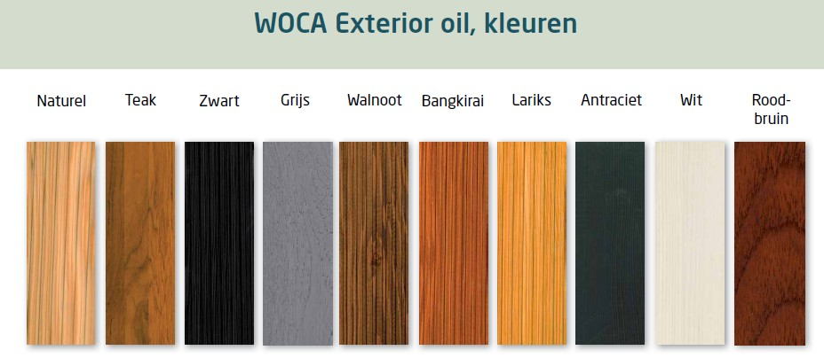 Woca Exterior Olie Kleuren